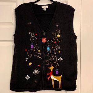 KIM ROGERS Zip Up Christmas Sweater Reindeer Vest